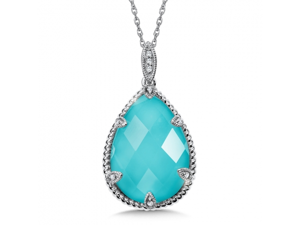 Colore Oro  Turquoise Fusion and Diamond Pendant in 14K White Gold (0.03 ct. tw.) - Turquoise fusion pendant in 14K WG with 18X13 mm center. Chain included. Available in 14k White, Rose or Yellow Gold. Also available in Blue Shell/White Quartz Fusion.