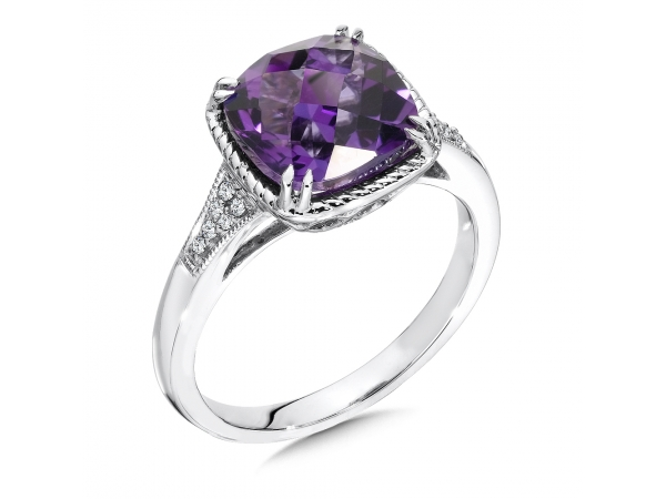 Colore Oro  Amethyst and Diamond Ring in 14K White Gold - Amethyst and diamond ring in 14k white gold. Cushion 8X9 center. Available in 14K White, Rose, or Yellow Gold with the option of Amethyst, Swiss Blue Topaz, Garnet, Green Amethyst, London Blue Topaz, onyx, or Peridot Gemstones.