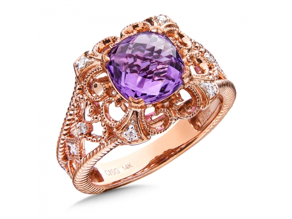 Colore Oro  Amethyst & Diamond Ring in 14K Rose Gold - Amethyst and diamond ring in 14k rose gold. Cushion 8X8 mm center. Available in 14K White, Rose, or Yellow Gold with the option of Amethyst, Swiss Blue Topaz, Garnet, Green Amethyst, London Blue Topaz, onyx, or Peridot Gemstones.