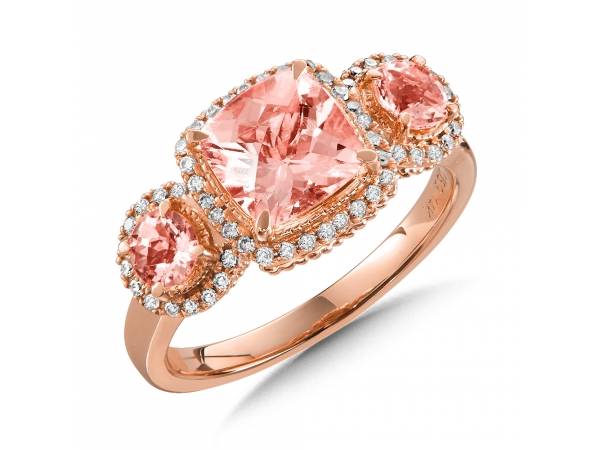 Colore Oro  Morganite 3-Stone Ring with Diamonds in 14K Rose Gold - A blushing 3-stone morganite ring accented with diamond side stones in 14k rose gold. Cushion 7X7 mm center. Available in 14K White, Rose, or Yellow Gold with the option of Amethyst, Swiss Blue Topaz, Garnet, London Blue Topaz, Morganite, Onyx, or Peridot Gemstones.