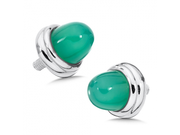 Colore SG  Sterling Silver Green Agate Sterling Silver Caps for Personalized Bangles by Colore | SG