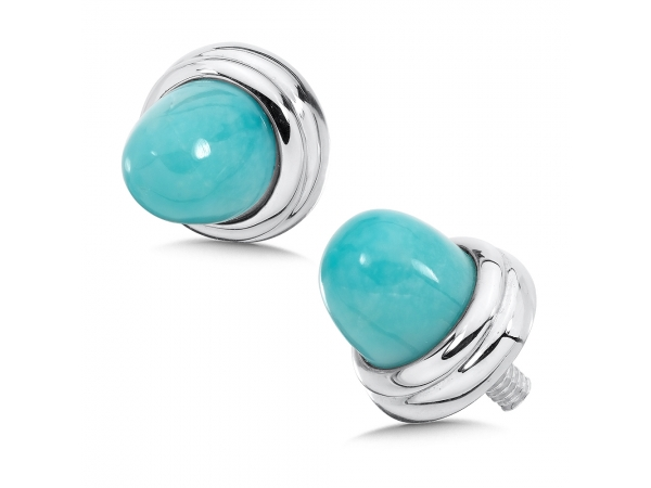 Colore SG  Sterling Silver Turquoise Sterling Silver Caps for Personalized Bangles by Colore | SG