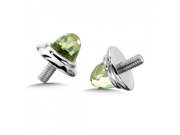 Colore SG  Sterling Silver Green Amethyst Caps by Colore | SG