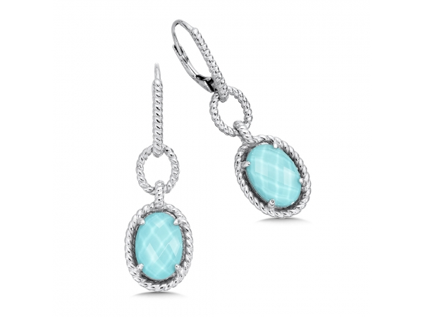 Colore SG  Sterling silver, and turquoise fusion earrings - Eye catching and elegant drop earrings of sterling silver, each set with a 13 X 9mm oval shaped luxurious turquoise fusion stone. A unique, signature piece to elevate any style.