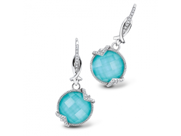 Colore SG  Sterling silver, turquoise fusion and diamond earrings - Soft and bright turquoise and quartz fusion accented by bright white diamonds. Set in sterling silver, these earrings are a true conversation starter.