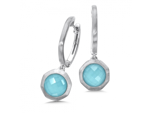 Colore SG  Sterling Silver White Quartz & Turquoise Fusion Dangle Hoop Earrings - Sterling Silver White Quartz & Turquoise Fusion Dangle Hoop Earrings with Satin silver metal finish for a sleek modern look. 9MM Round Centers.