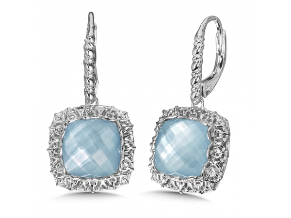 Colore SG  Quartz & Dyed Blue Mother of Pearl Fusion Earrings in Sterling Silver by Colore | SG
