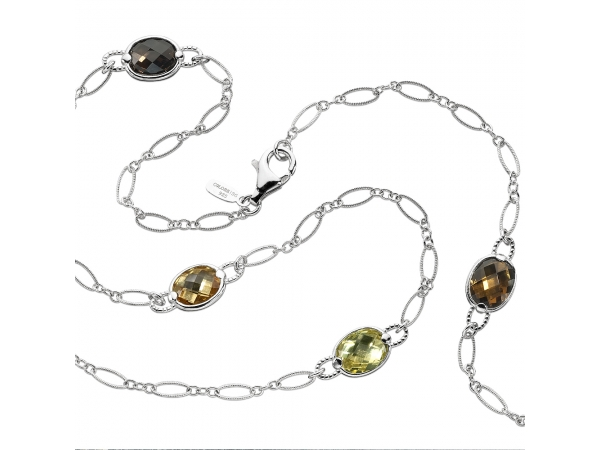 Colore SG  Sterling Silver Colore by the Yard necklace in honey citrine, lemon quartz, citrine, and smoky quartz. - Citrine, Honey Citrine, Lemon Citrine, Smoky Quartz and Sterling Silver make up this beautiful 3' Colore by the Yard necklace. 10 mm gemstones.