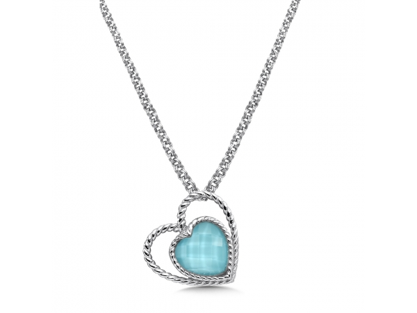 Colore SG  Sterling silver and turquoise fusion heart pendant - Show your love in color. This gorgeous 10 mm heart shaped turquoise fusion stone is embraced by an open heart of sterling silver with our subtle rope texture. Chain included.