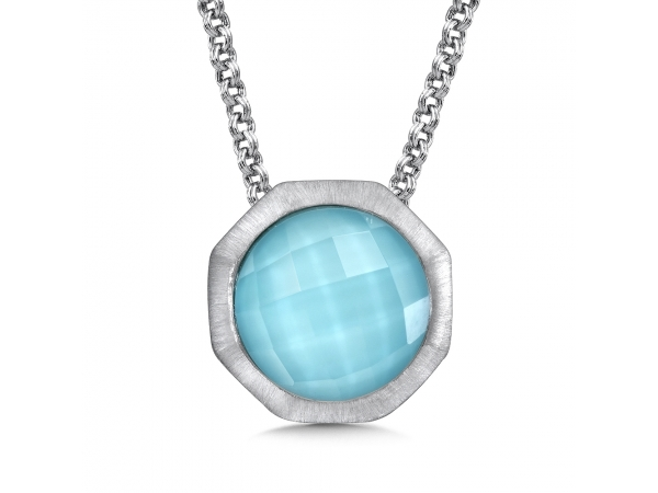 Colore SG  Sterling Silver White Quartz & Turquoise Fusion Pendant - Sterling Silver White Quartz & Turquoise Fusion Pendant with Satin silver metal finish for a sleek modern look. 12 mm Round Center. Chain Included.
