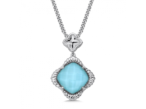 Colore SG  Sterling Silver White Quartz & Turquoise Fusion Pendant - A Radiant Sterling Silver White Quartz & Turquoise Fusion Pendant. 12 mm Cushion Center. Chain Included.