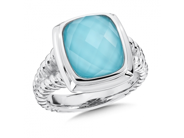 Colore SG  Sterling Silver Turquoise and White Quartz Fusion Ring - A Fashionable Sterling Silver 12x10 mm Faceted Vivid Turquoise and White Quartz Colore Fusion Ring.