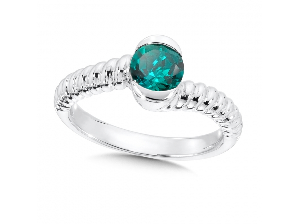 Colore SG  Sterling Silver Created Emerald Colore Of Life Stack Ring - An Elegant Colore Of Life Sterling Silver Birthstone Stackable Overpass Ring With a 6 mm Faceted Created Emerald Center.