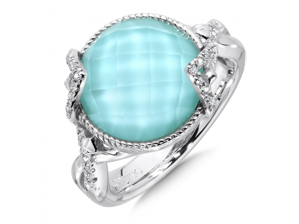 Colore SG  Sterling silver, turquoise fusion and diamond ring - Soft and bright turquoise and quartz fusion accented by bright white diamonds. Set in sterling silver, this ring is a true conversation starter.
