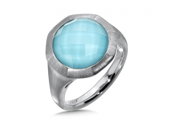 Colore SG  Sterling Silver White Quartz & Turquoise Fusion Ring - Sterling Silver White Quartz & Turquoise Fusion Ring Satin silver metal finish for a sleek modern look. 12MM Round Center.