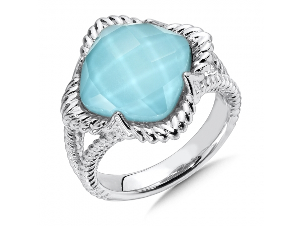 Colore SG  Sterling Silver White Quartz & Turquoise Fusion Split Shank Ring - A Radiant Sterling Silver White Quartz & Turquoise Fusion Split Shank Ring with 12mm cushion center and rope texture shoulders.