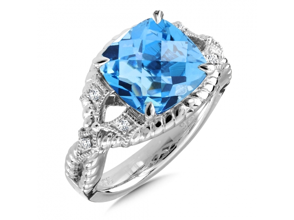 Colore SG  Sterling Silver Blue Topaz & Diamond Ring by Colore | SG