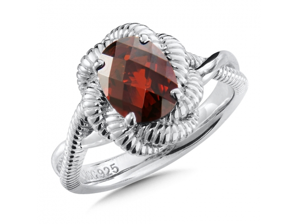 Colore SG  Sterling Silver Garnet Ring  by Colore | SG