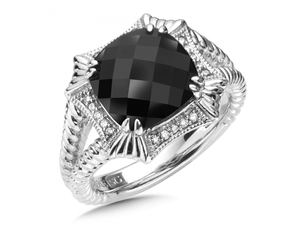 Colore SG  Sterling Silver Onyx & Diamond Ring by Colore | SG