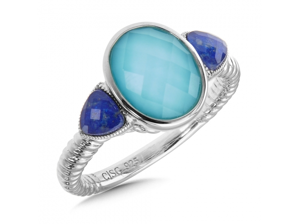 Colore SG  Sterling Silver Turquoise Fusion & Lapis Quartz Ring - Flaunt two shades of blue with this modern turquoise fusion ring with lapis side stones in sterling silver. Oval 10X8 mm center.