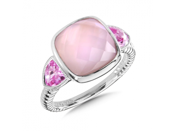 Colore SG  Sterling Silver Rose Mother of Pearl Fusion & Pink Sapphire Ring by Colore | SG