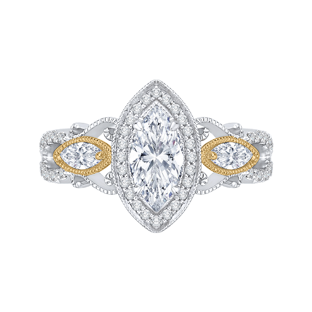 18K Two-Tone Engagement Ring by Carizza