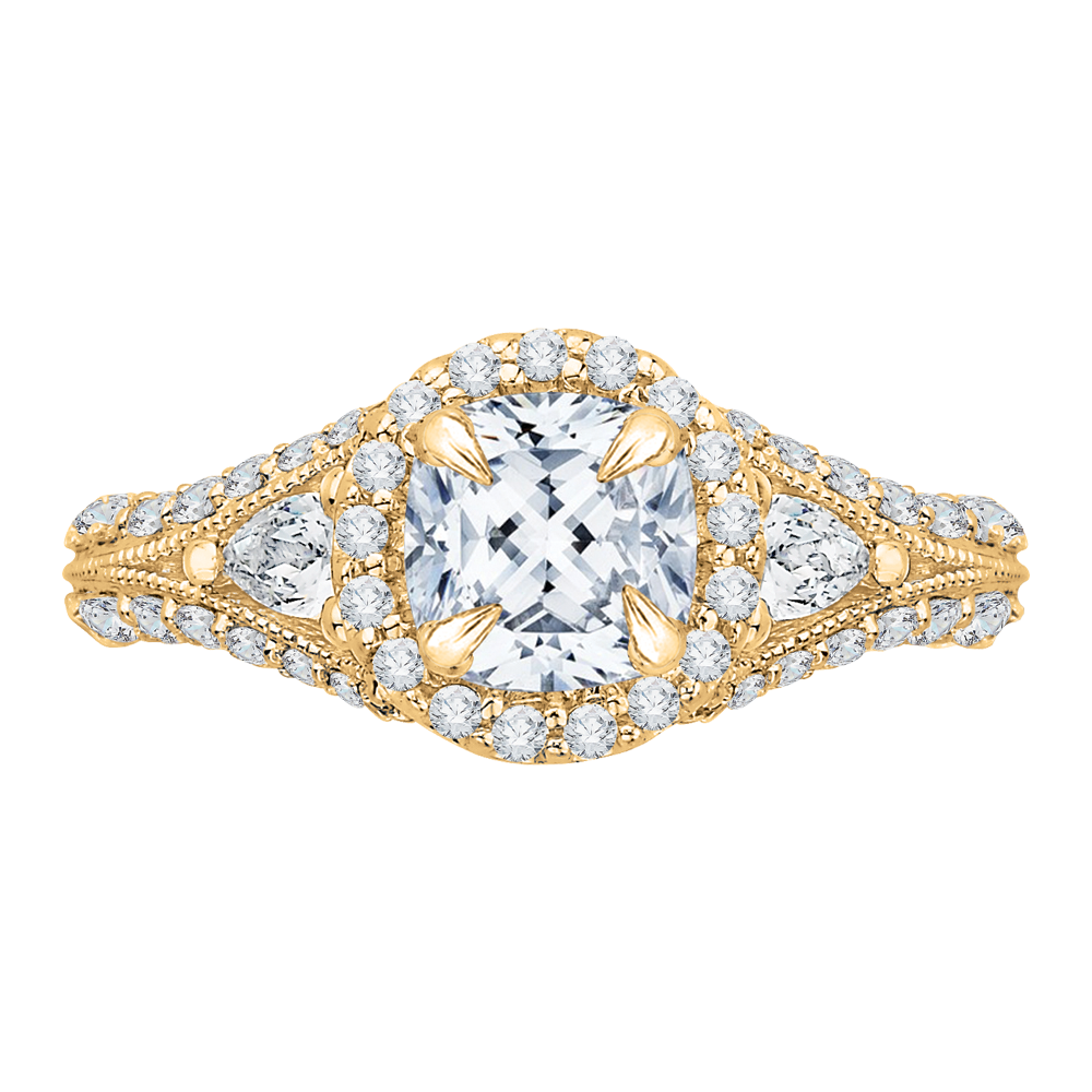18K Yellow Gold Engagement Ring by Carizza