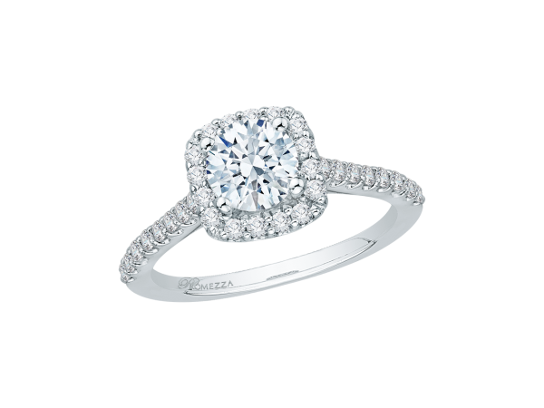 14K White Gold Engagement Ring - 14K White Gold .45 ct. Diamond Promezza Engagement Ring with Round Center