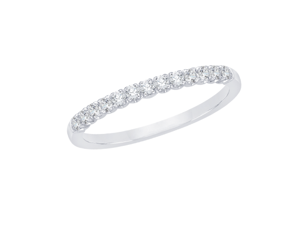 14K White Gold Ladies Wedding Band - 14K White Gold .27 ct. Diamond Promezza Wedding Band