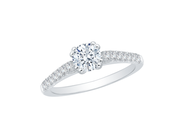 14K White Gold Engagement Ring - 14K White Gold .29 ct. Diamond Promezza Engagement Ring with Round Center