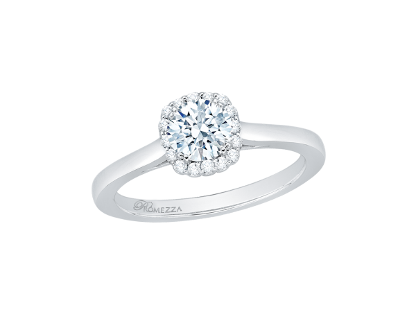 14K White Gold Engagement Ring - 14K White Gold .09 ct. Diamond Promezza Engagement Ring with Round Center