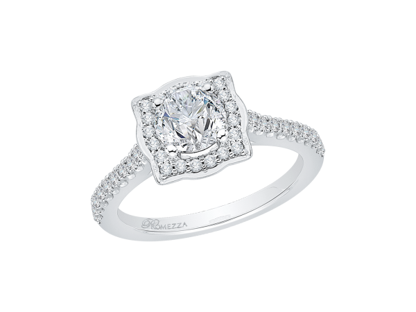 14K White Gold Engagement Ring - 14K White Gold .24 ct. Diamond Promezza Engagement Ring with Round Center