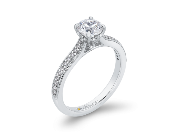 14K White Gold Engagement Ring by Promezza