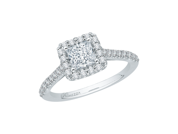 14K White Gold Engagement Ring - 14K White Gold 50 ct. Diamond Promezza Engagement Ring with Princess Center