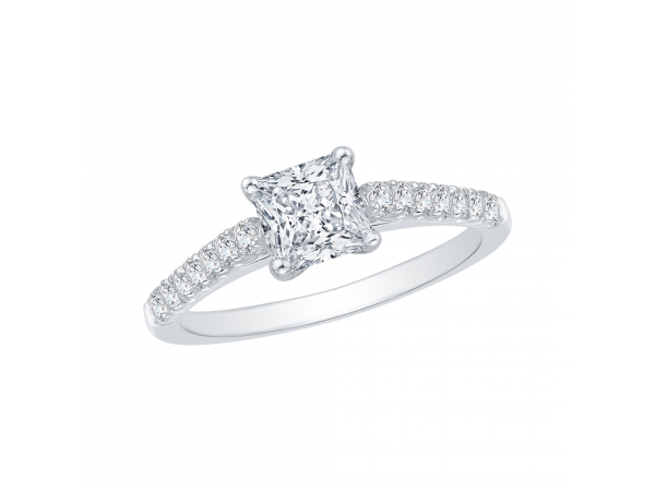 14K White Gold Engagement Ring - 14K White Gold 29 ct. Diamond Promezza Engagement Ring with Princess Center