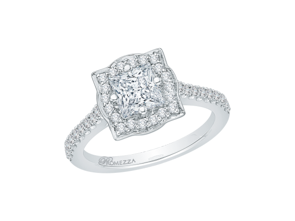 14K White Gold Engagement Ring - 14K White Gold 26 ct. Diamond Promezza Engagement Ring with Princess Center