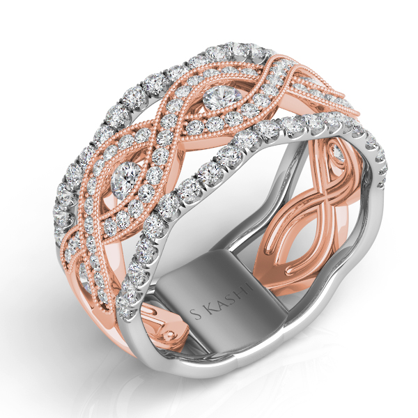 Rose & White Gold Diamond Fashion Ring by S. Kashi & Sons