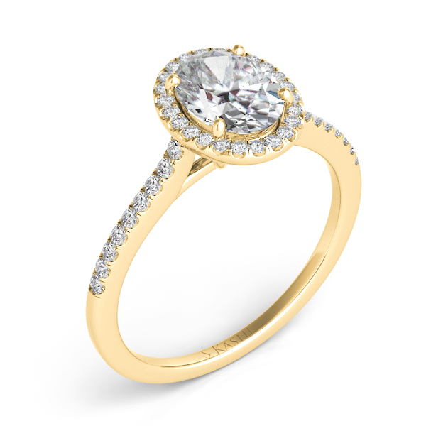 Yellow Gold Halo Engagement Ring by S. Kashi & Sons