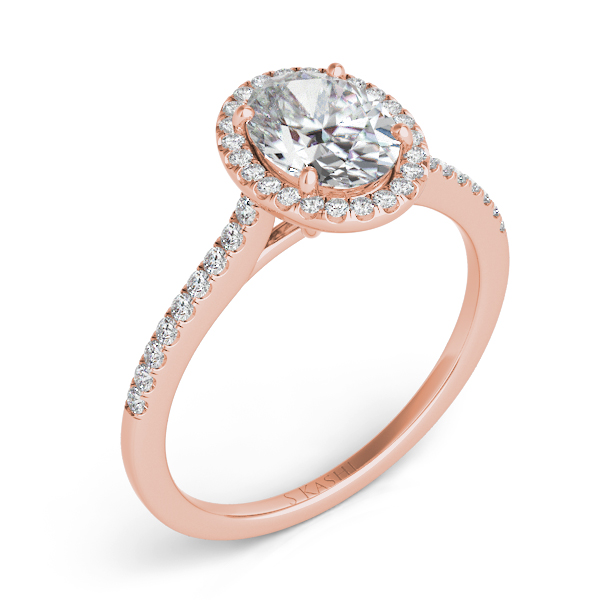 Rose Gold Halo Engagement Ring by S. Kashi & Sons