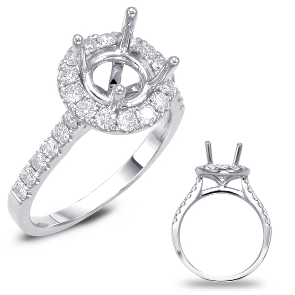 White Gold Halo Engagement Ring by S. Kashi