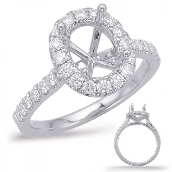 White Gold Halo Engagement Ring En7936 8x6mwg Engagement Rings