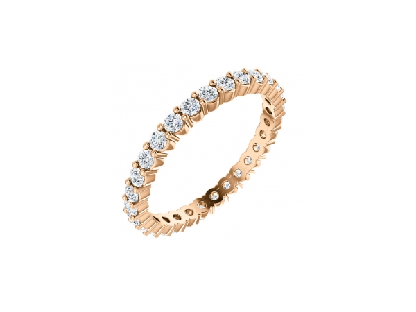 14K Rose Gold Anniversary Band - 14K Rose Gold Diamond Anniversary Band