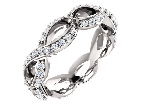 Sculptural-Inspired Engagement  Ring  Matching Band - Platinum 5/8 CTW Diamond Sculptural-Inspired Eternity Band Size 7