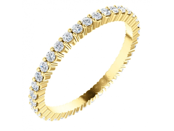 Diamond Bands - 14K Yellow Gold Anniversary Band - image 2