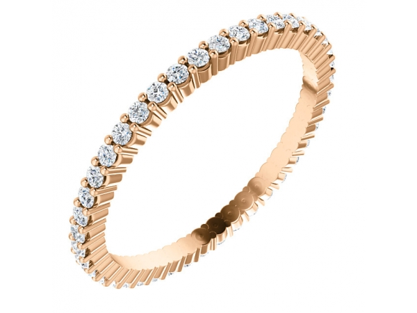 Diamond Bands - 14K Rose Gold Anniversary Band - image #2
