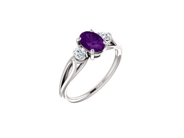 Amethyst Ring - Polished 14K White Gold Oval Cut Amethyst Ring
