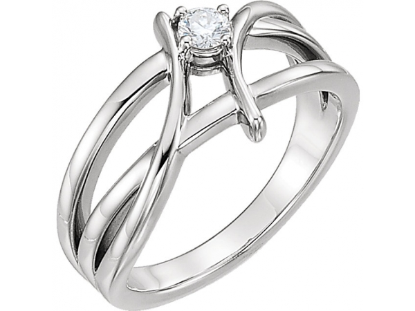 Diamond Ring - Polished Sterling Silver Diamond Ring
