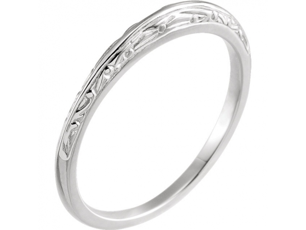Wedding Bands - 6-Prong Solitaire Engagement Ring Matching Band - image #2