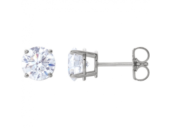 Round 4-Prong Lightweight Wire Basket Earrings - 14K White 2 CTW Diamond Earrings