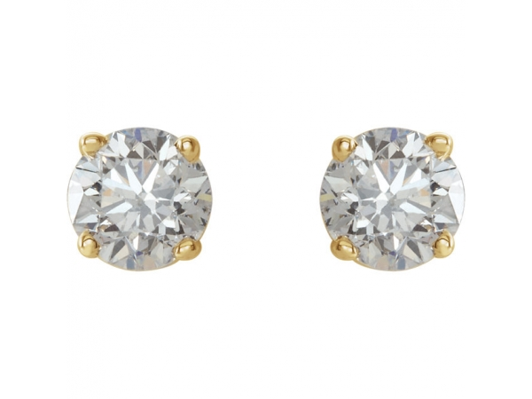 Diamond Earrings - Round Lightweight Wire Basket Earrings - image #2